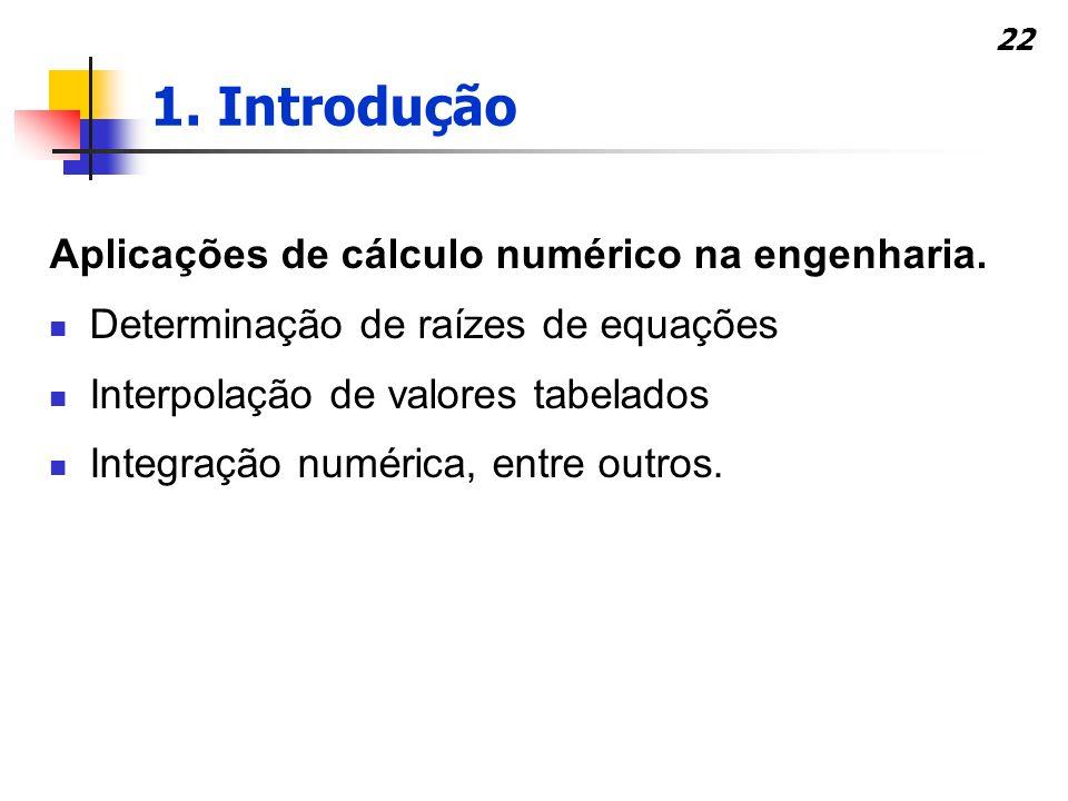 1. Introdução Aplicações de cálculo numérico na engenharia.
