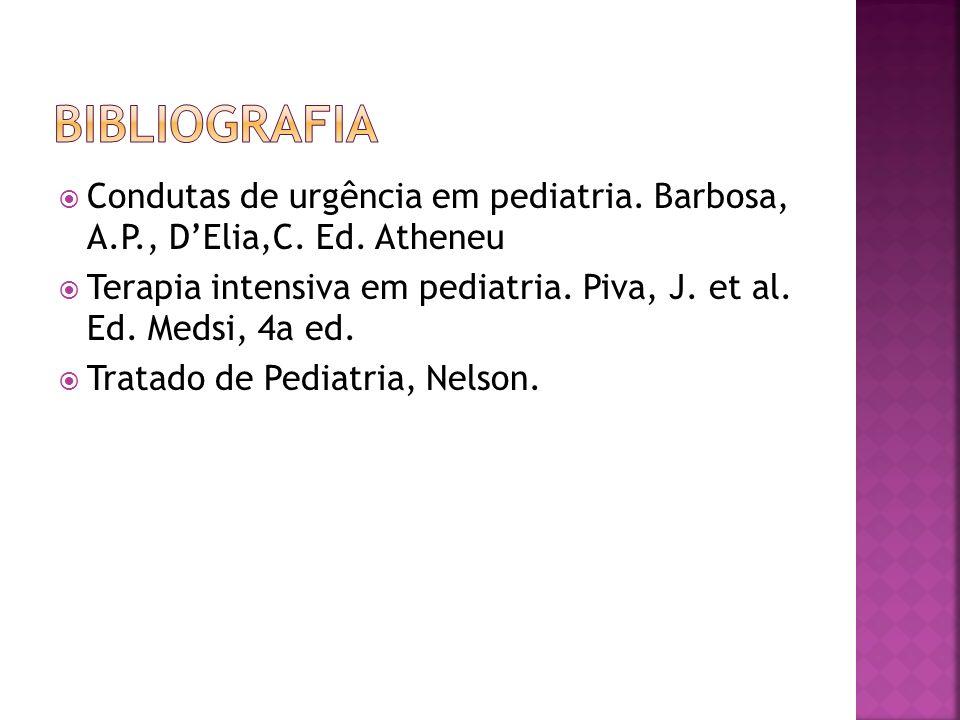 bibliografiaCondutas de urgência em pediatria. Barbosa, A.P., D'Elia,C. Ed. Atheneu.