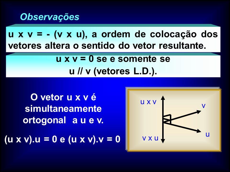 O vetor u x v é simultaneamente ortogonal a u e v.