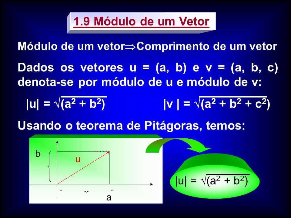 |u| = (a2 + b2) |v | = (a2 + b2 + c2)