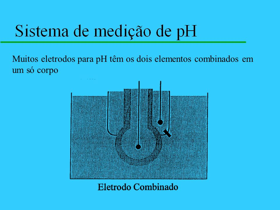 Muitos eletrodos para pH têm os dois elementos combinados em um só corpo