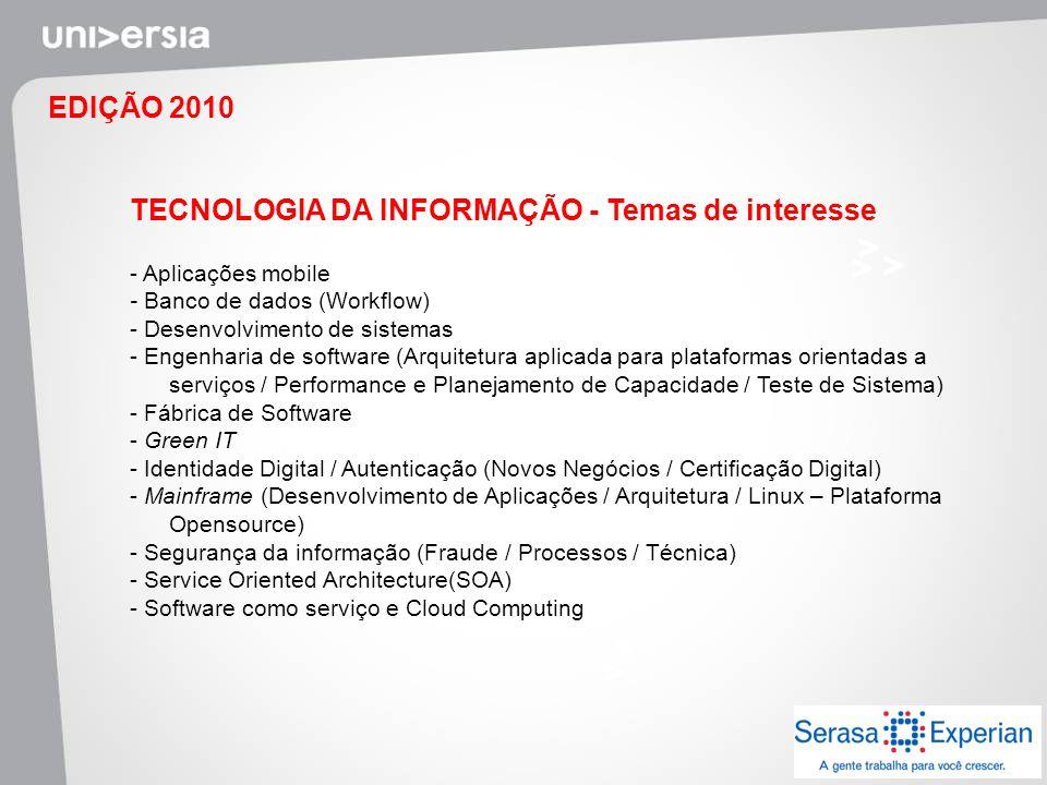 TECNOLOGIA DA INFORMAÇÃO - Temas de interesse