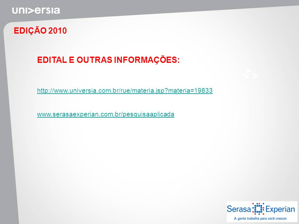 EDITAL E OUTRAS INFORMAÇÕES: