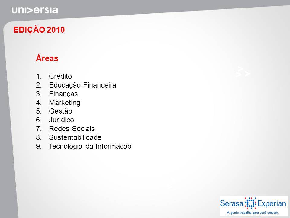 EDIÇÃO 2010 Áreas Crédito Educação Financeira Finanças Marketing