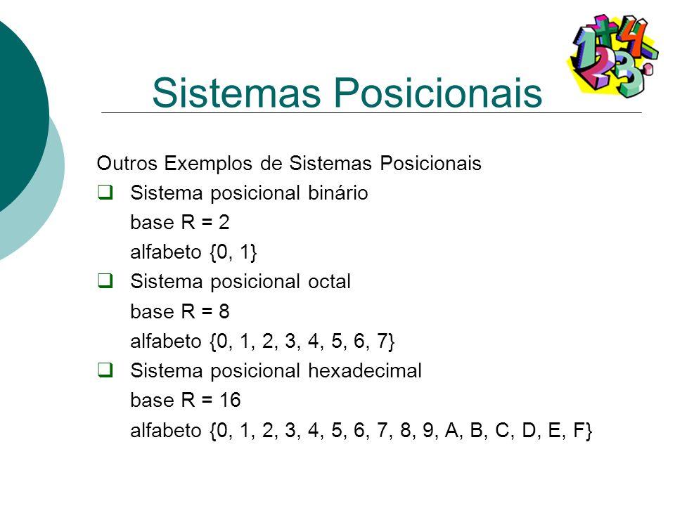 Sistemas Posicionais Outros Exemplos de Sistemas Posicionais