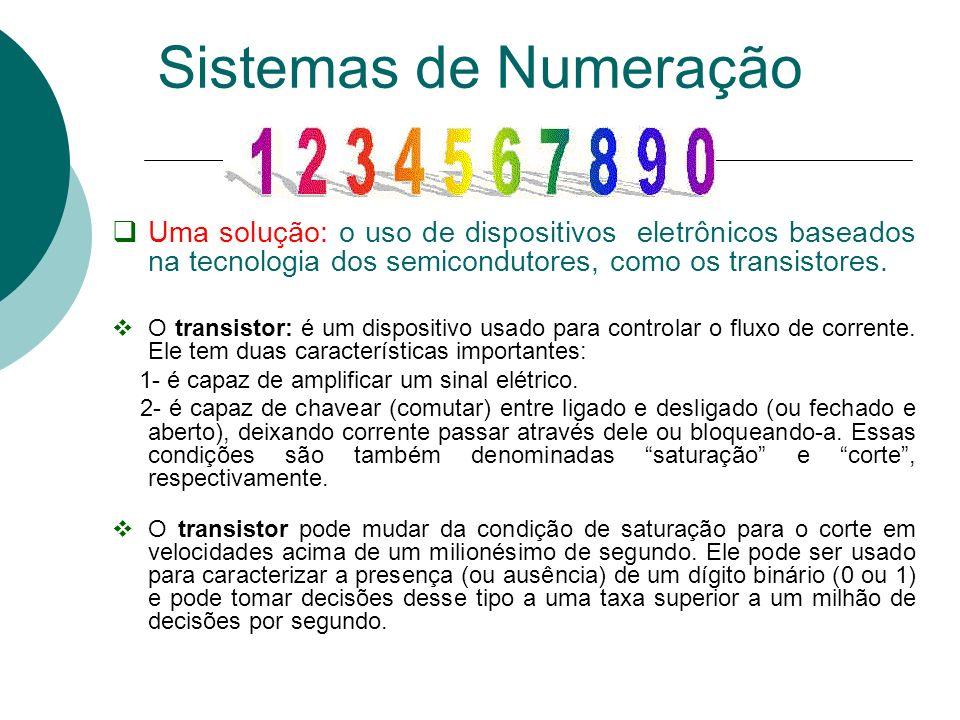 Sistemas de Numeração Uma solução: o uso de dispositivos eletrônicos baseados na tecnologia dos semicondutores, como os transistores.