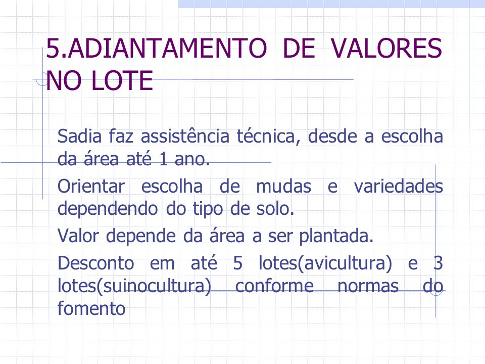 5.ADIANTAMENTO DE VALORES NO LOTE