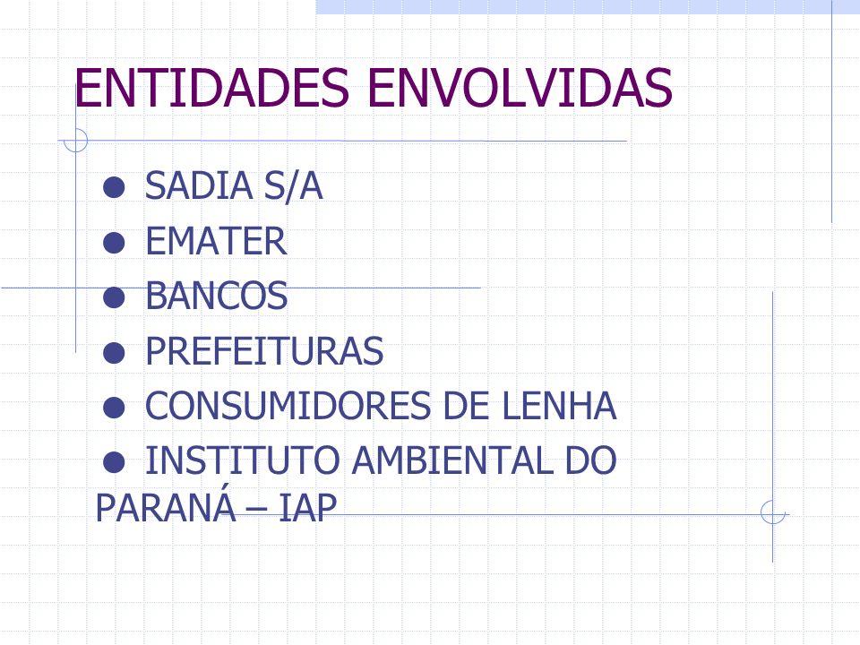 ENTIDADES ENVOLVIDAS  SADIA S/A  EMATER  BANCOS  PREFEITURAS