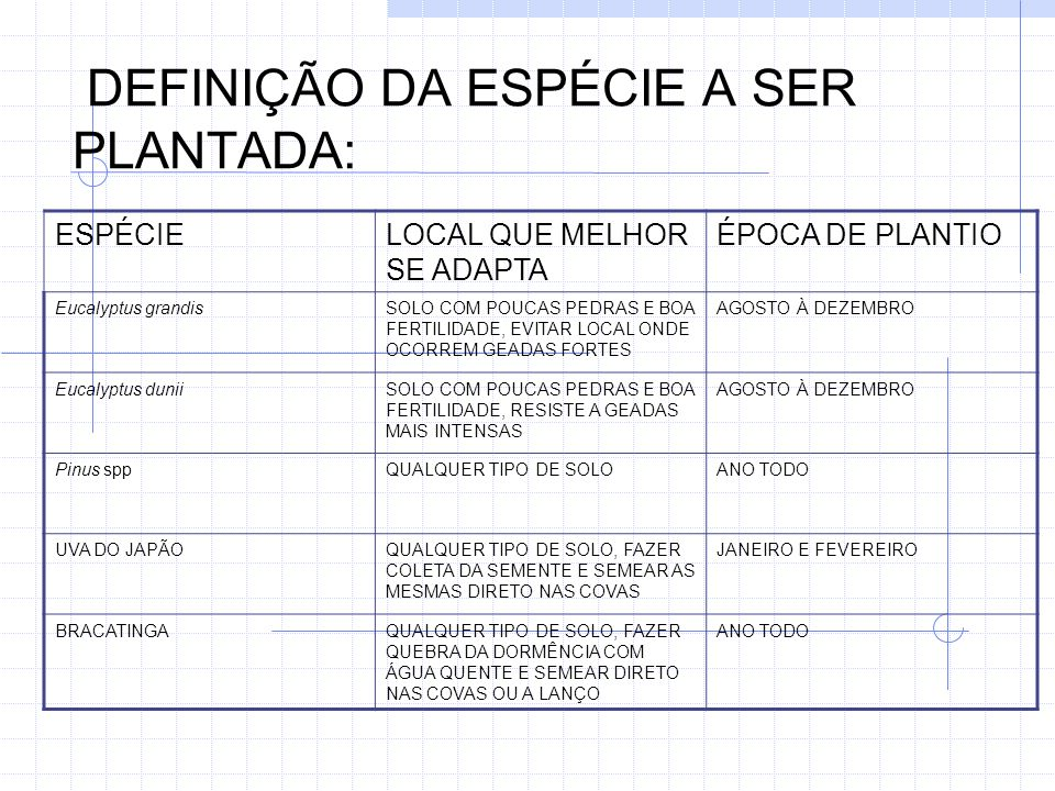 DEFINIÇÃO DA ESPÉCIE A SER PLANTADA:
