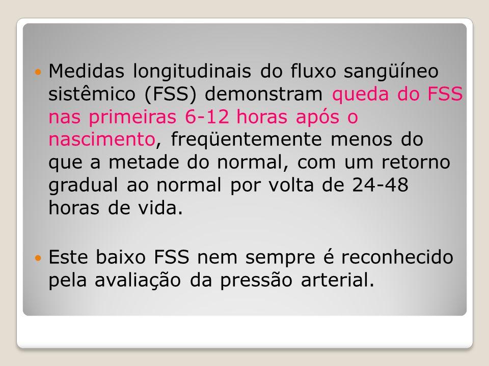 Medidas longitudinais do fluxo sangüíneo sistêmico (FSS) demonstram queda do FSS nas primeiras 6-12 horas após o nascimento, freqüentemente menos do que a metade do normal, com um retorno gradual ao normal por volta de 24-48 horas de vida.