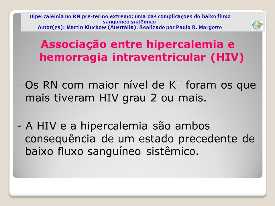 Associação entre hipercalemia e hemorragia intraventricular (HIV)