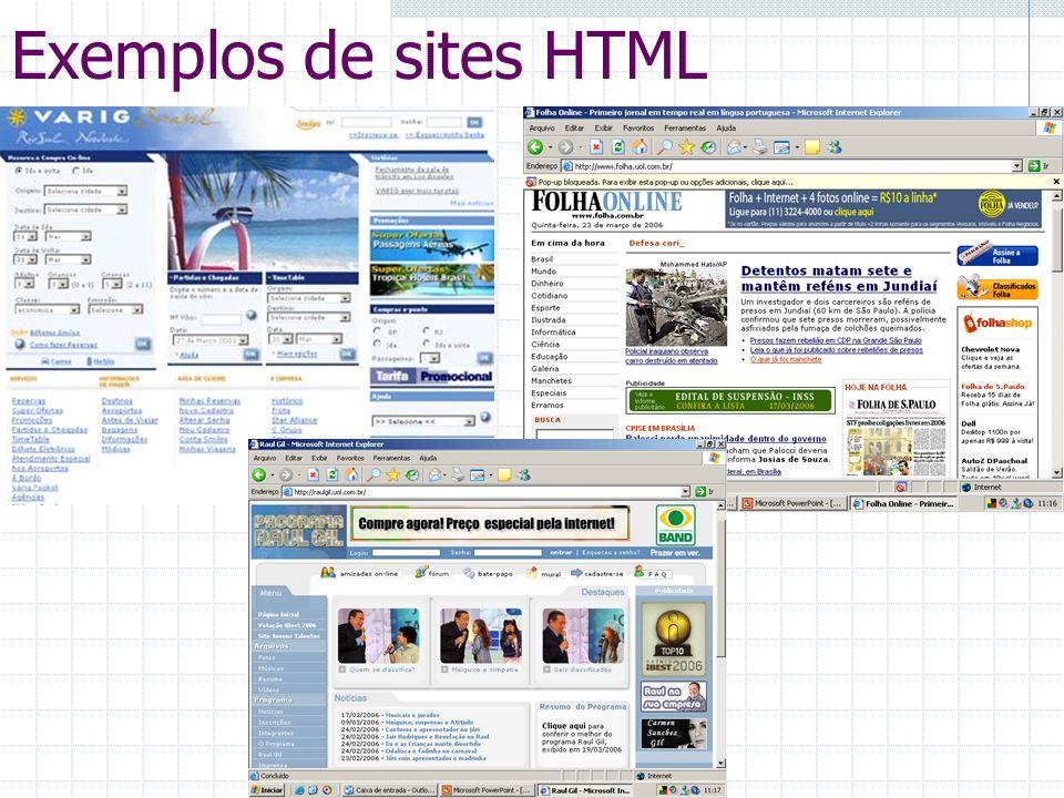 Exemplos de sites HTML