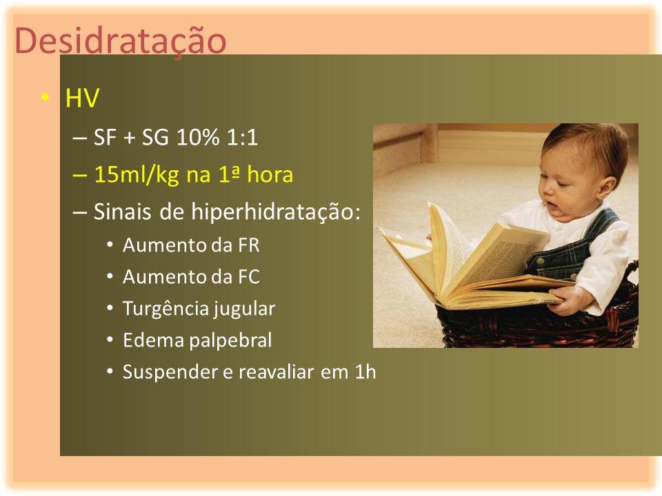 Desidratação HV SF + SG 10% 1:1 15ml/kg na 1ª hora