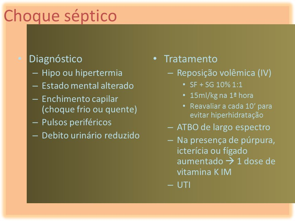 Choque séptico Diagnóstico Tratamento Hipo ou hipertermia