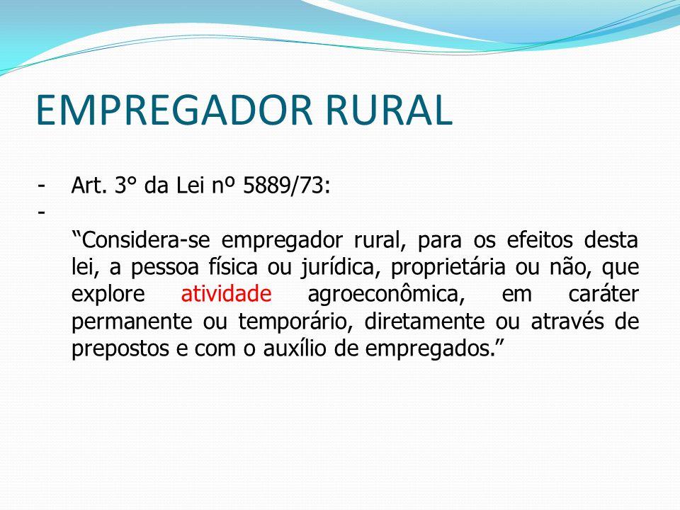 EMPREGADOR RURAL Art. 3° da Lei nº 5889/73:
