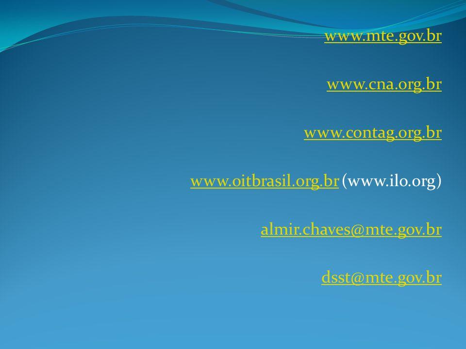 www.mte.gov.br www.cna.org.br. www.contag.org.br. www.oitbrasil.org.br (www.ilo.org) almir.chaves@mte.gov.br.