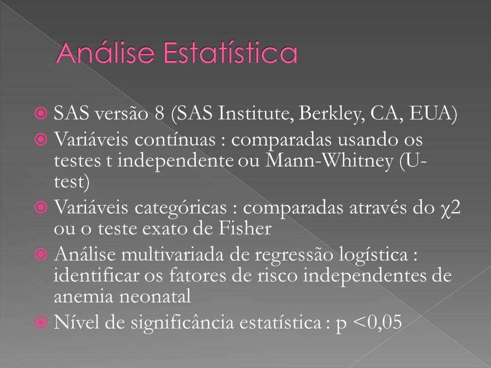 SAS versão 8 (SAS Institute, Berkley, CA, EUA)