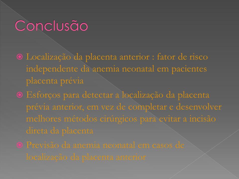 Localização da placenta anterior : fator de risco independente da anemia neonatal em pacientes placenta prévia