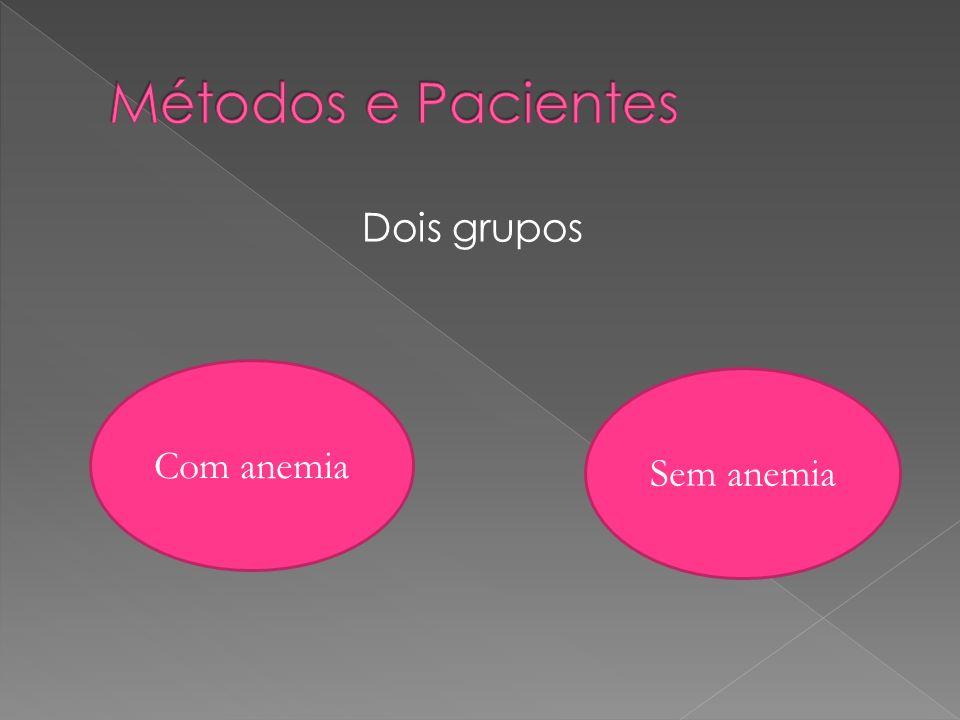 Métodos e Pacientes Dois grupos Com anemia Sem anemia