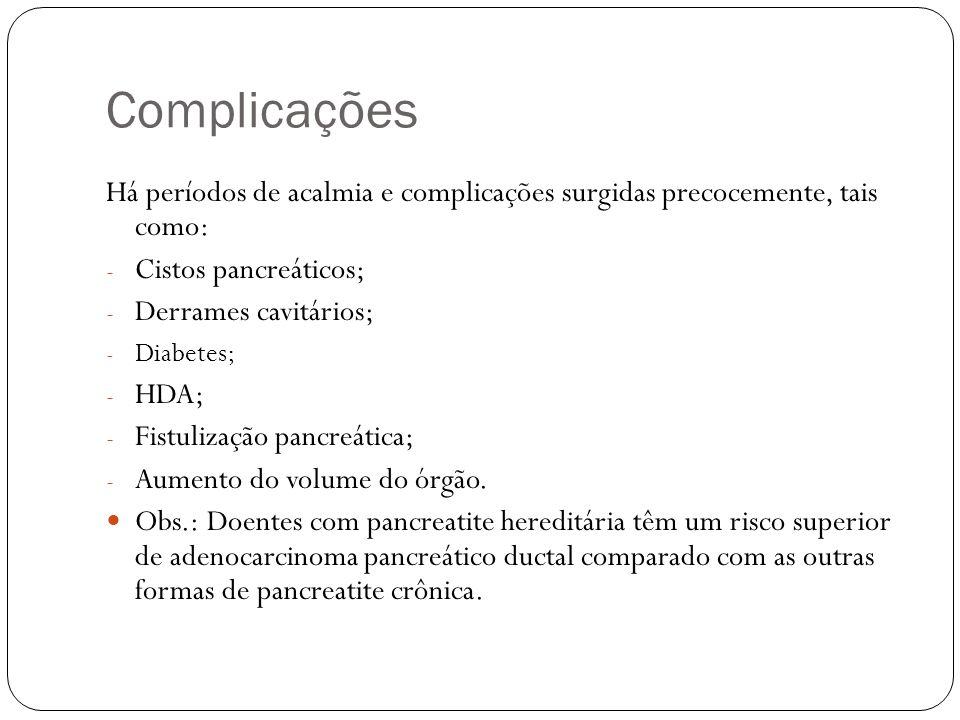 Complicações Há períodos de acalmia e complicações surgidas precocemente, tais como: Cistos pancreáticos;