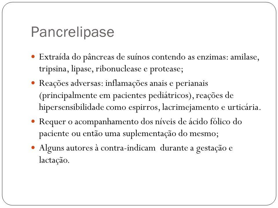 Pancrelipase Extraída do pâncreas de suínos contendo as enzimas: amilase, tripsina, lipase, ribonuclease e protease;