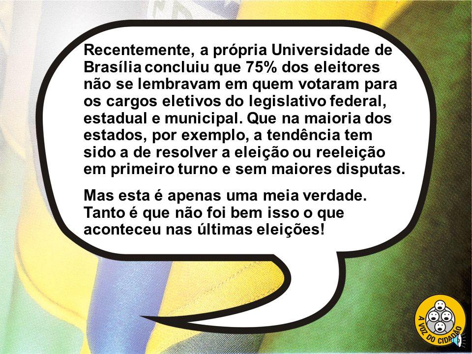 Recentemente, a própria Universidade de Brasília concluiu que 75% dos eleitores não se lembravam em quem votaram para os cargos eletivos do legislativo federal, estadual e municipal. Que na maioria dos estados, por exemplo, a tendência tem sido a de resolver a eleição ou reeleição em primeiro turno e sem maiores disputas.