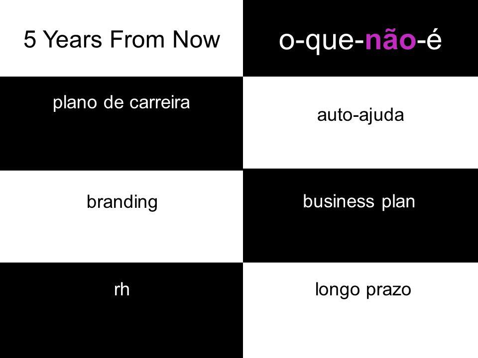 o-que-não-é 5 Years From Now plano de carreira auto-ajuda branding