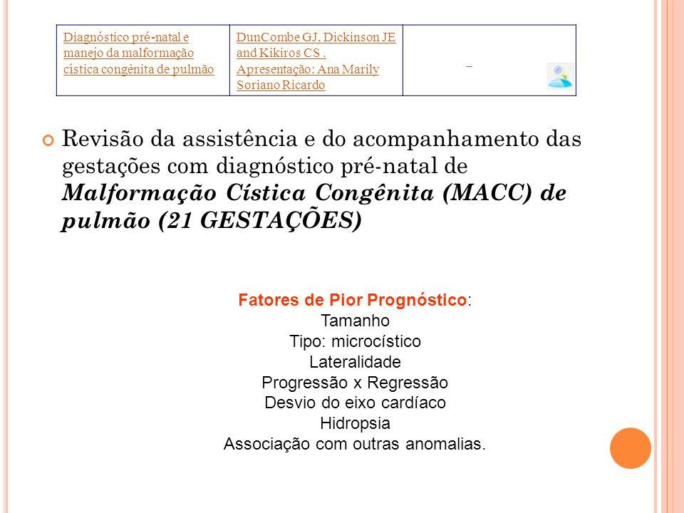 Diagnóstico pré-natal e manejo da malformação cística congênita de pulmão