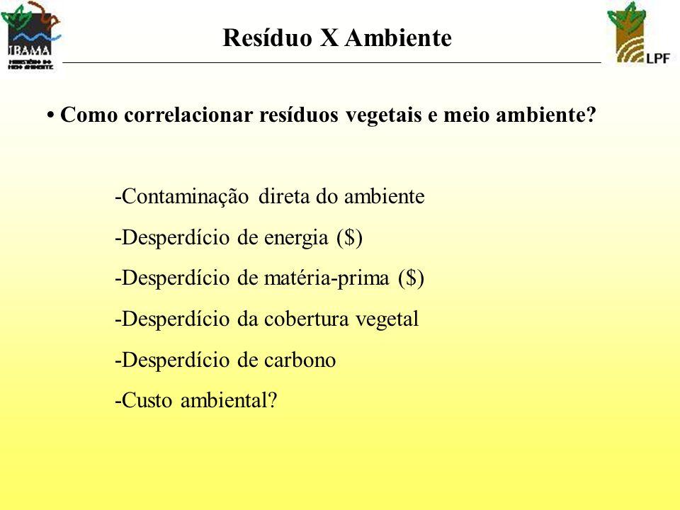 Resíduo X Ambiente • Como correlacionar resíduos vegetais e meio ambiente -Contaminação direta do ambiente.