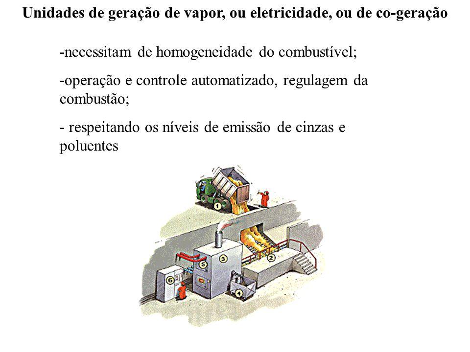 Unidades de geração de vapor, ou eletricidade, ou de co-geração
