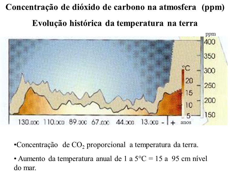 Concentração de dióxido de carbono na atmosfera (ppm)
