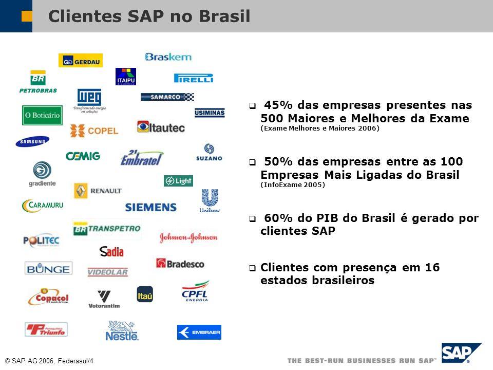 Clientes SAP no Brasil 45% das empresas presentes nas 500 Maiores e Melhores da Exame (Exame Melhores e Maiores 2006)
