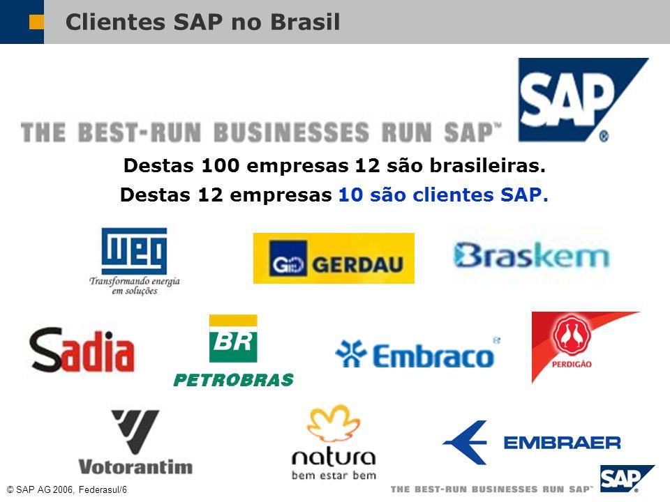 Clientes SAP no Brasil Destas 100 empresas 12 são brasileiras.