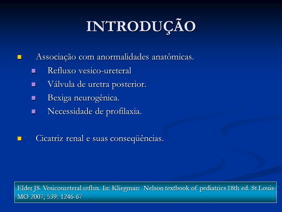 INTRODUÇÃO Associação com anormalidades anatômicas.