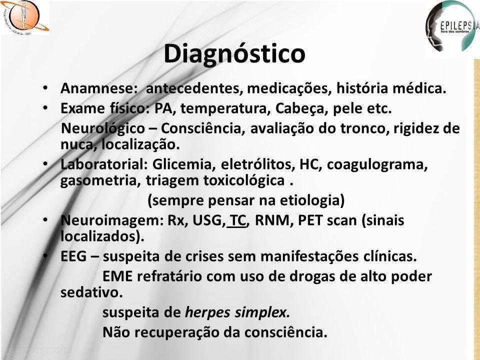 Diagnóstico Anamnese: antecedentes, medicações, história médica.