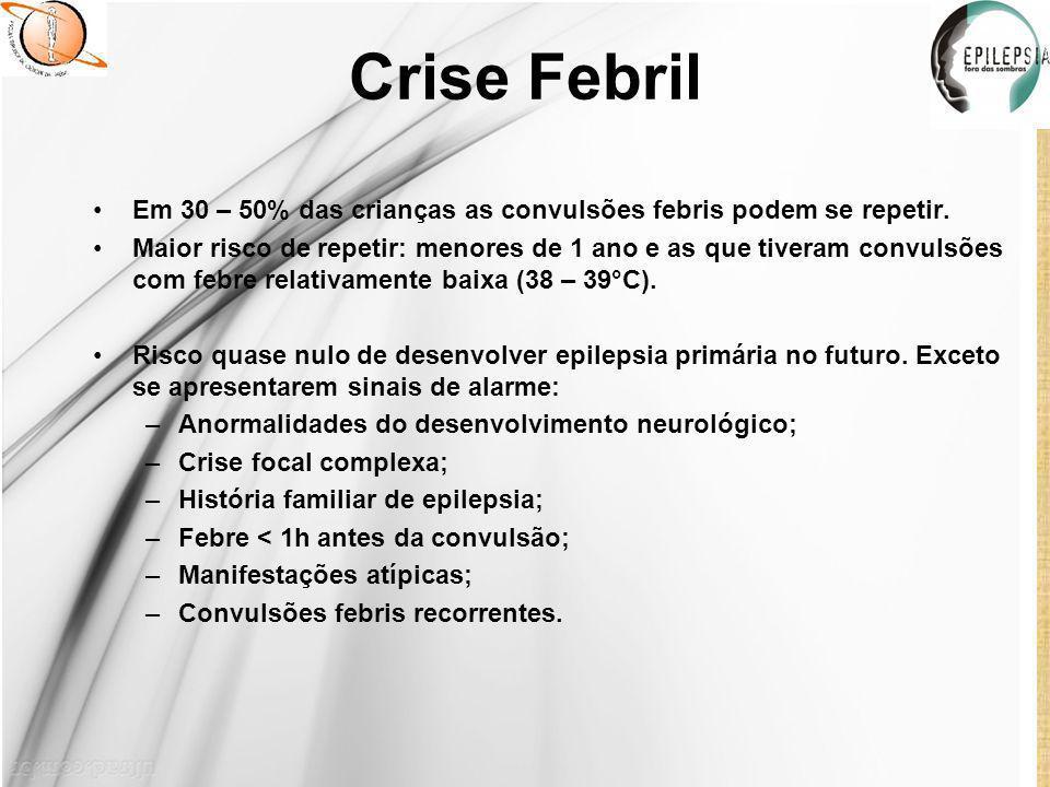 Crise Febril Em 30 – 50% das crianças as convulsões febris podem se repetir.