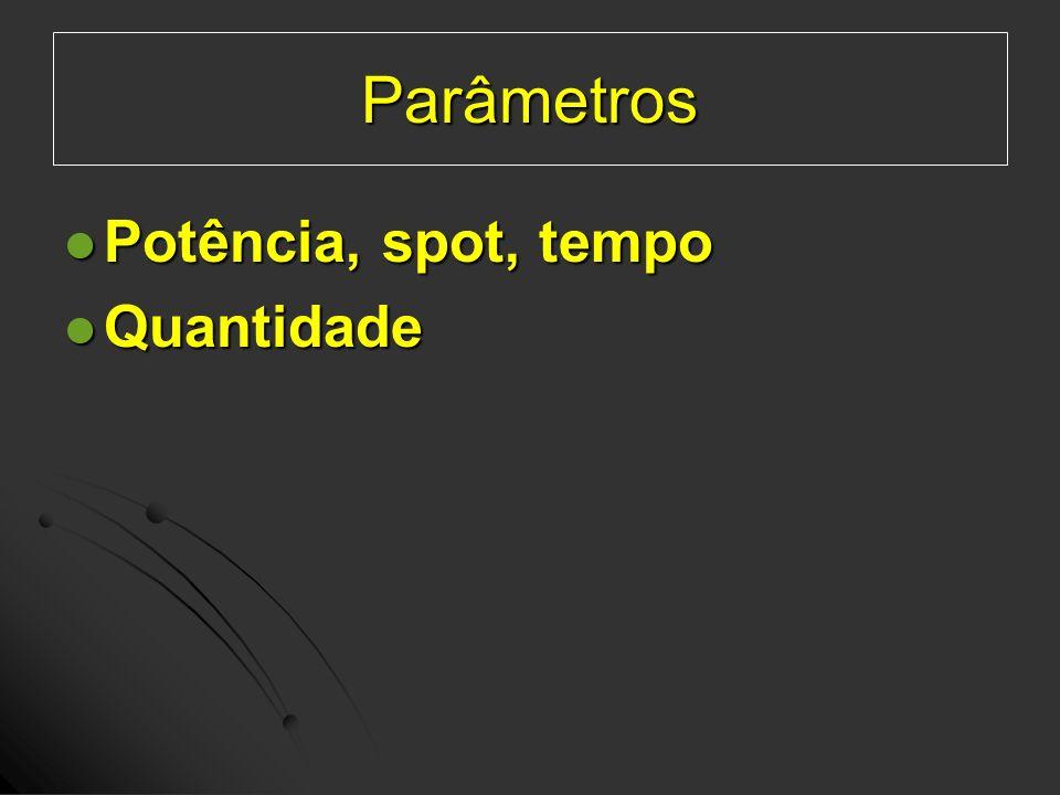 Parâmetros Potência, spot, tempo Quantidade