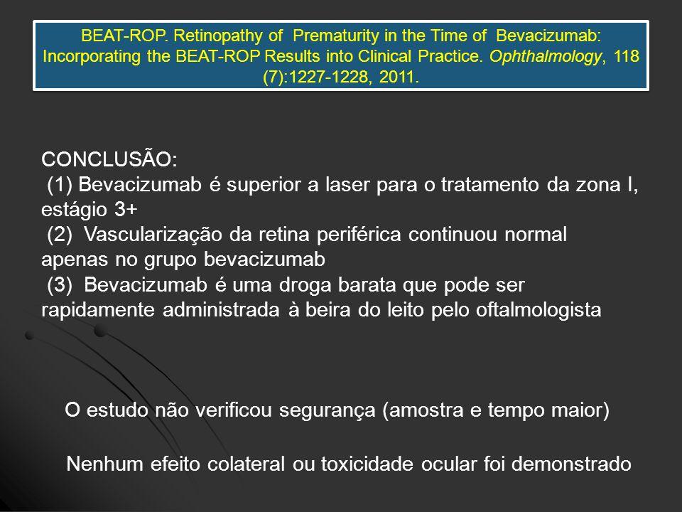 Nenhum efeito colateral ou toxicidade ocular foi demonstrado