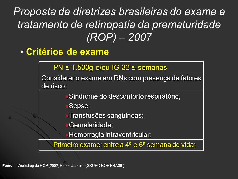 Proposta de diretrizes brasileiras do exame e tratamento de retinopatia da prematuridade (ROP) – 2007
