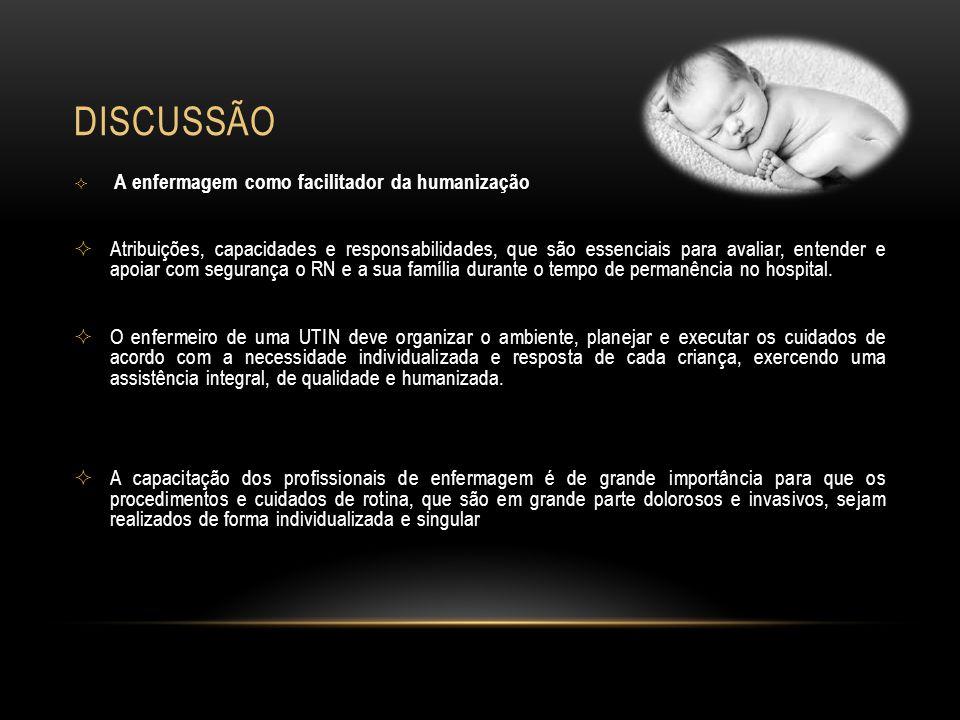 DISCUSSÃO A enfermagem como facilitador da humanização.
