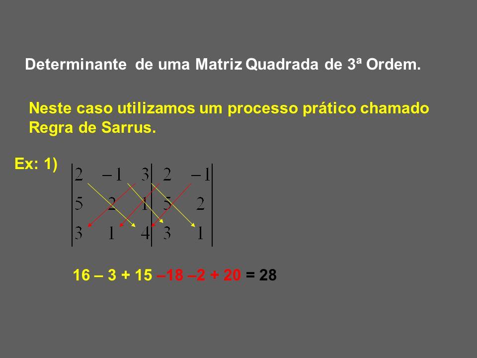 Determinante de uma Matriz Quadrada de 3ª Ordem.