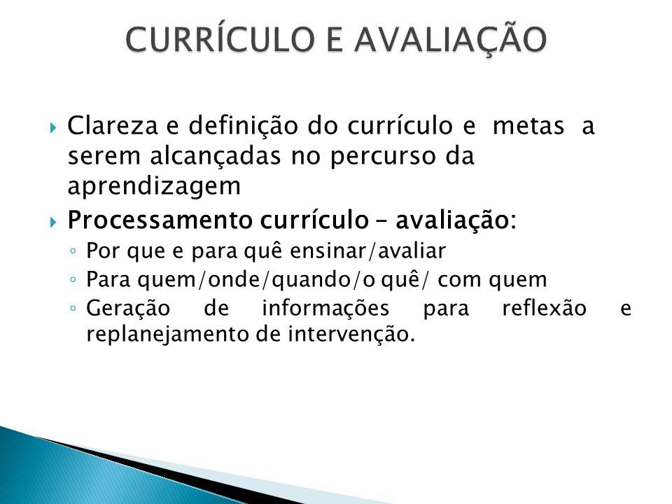 CURRÍCULO E AVALIAÇÃO Clareza e definição do currículo e metas a serem alcançadas no percurso da aprendizagem.