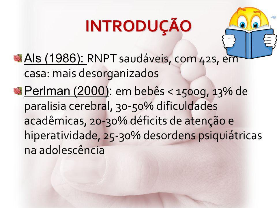 INTRODUÇÃO Als (1986): RNPT saudáveis, com 42s, em casa: mais desorganizados.