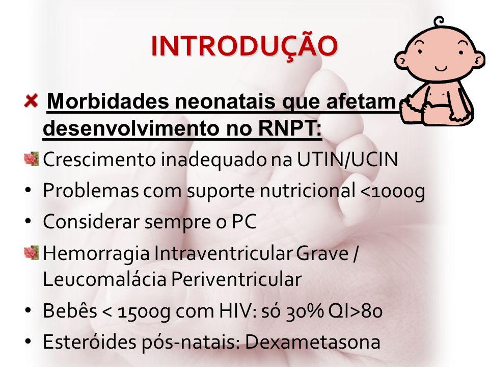 INTRODUÇÃO Morbidades neonatais que afetam o desenvolvimento no RNPT: