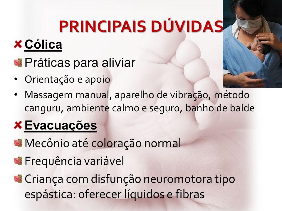 PRINCIPAIS DÚVIDAS Cólica Práticas para aliviar Evacuações
