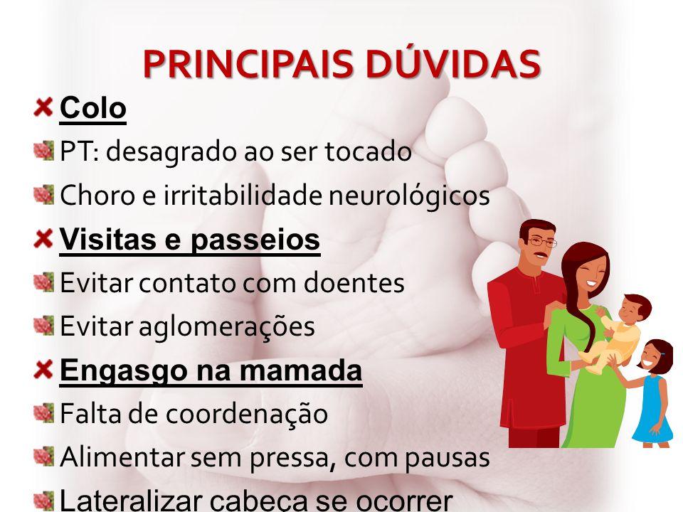 PRINCIPAIS DÚVIDAS Colo PT: desagrado ao ser tocado