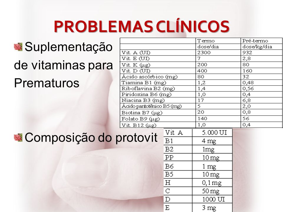 PROBLEMAS CLÍNICOS Suplementação de vitaminas para Prematuros