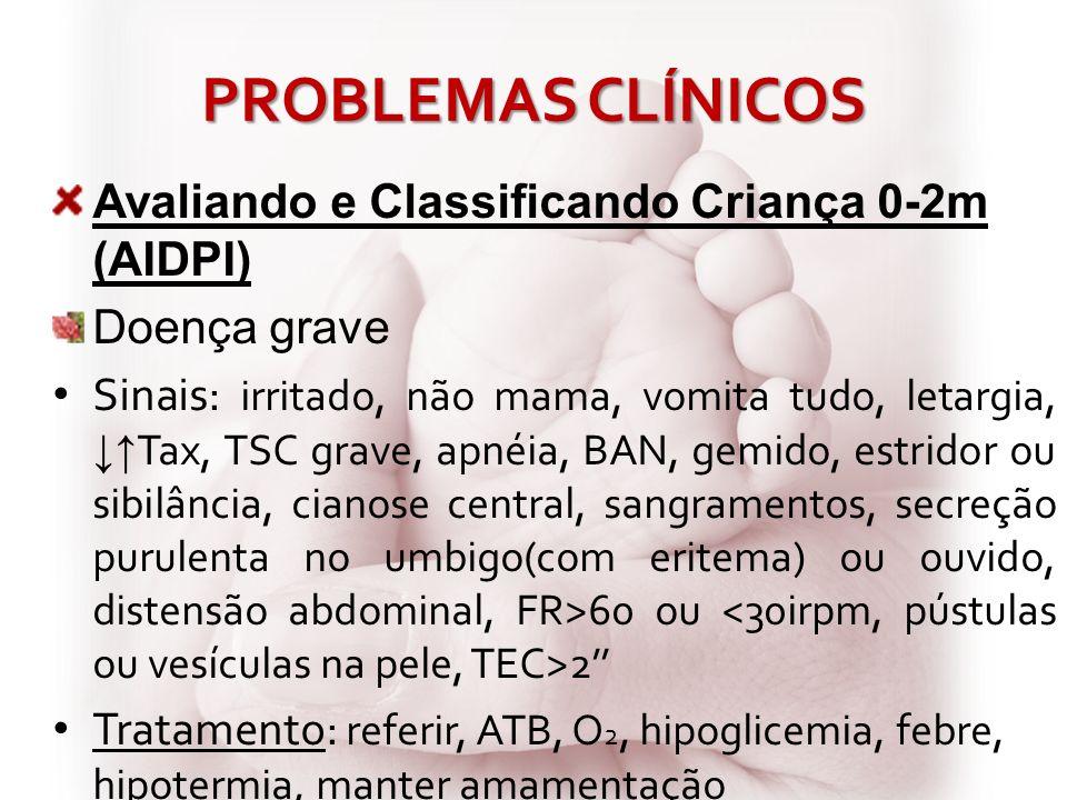PROBLEMAS CLÍNICOS Avaliando e Classificando Criança 0-2m (AIDPI)