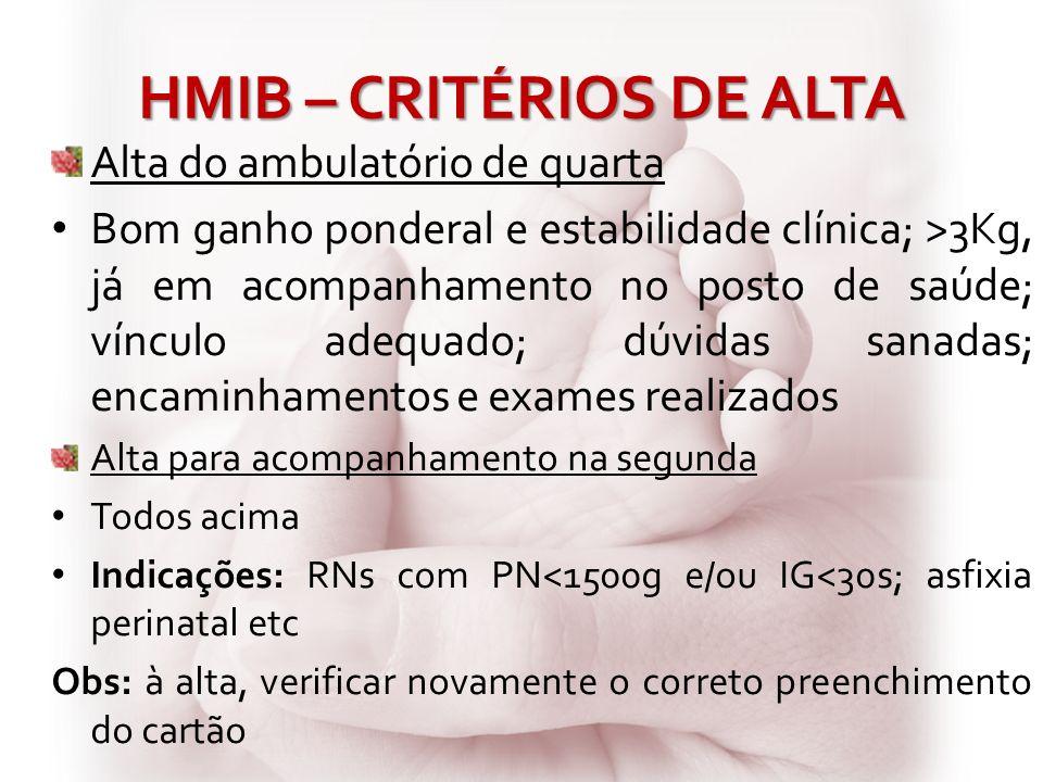 HMIB – CRITÉRIOS DE ALTA