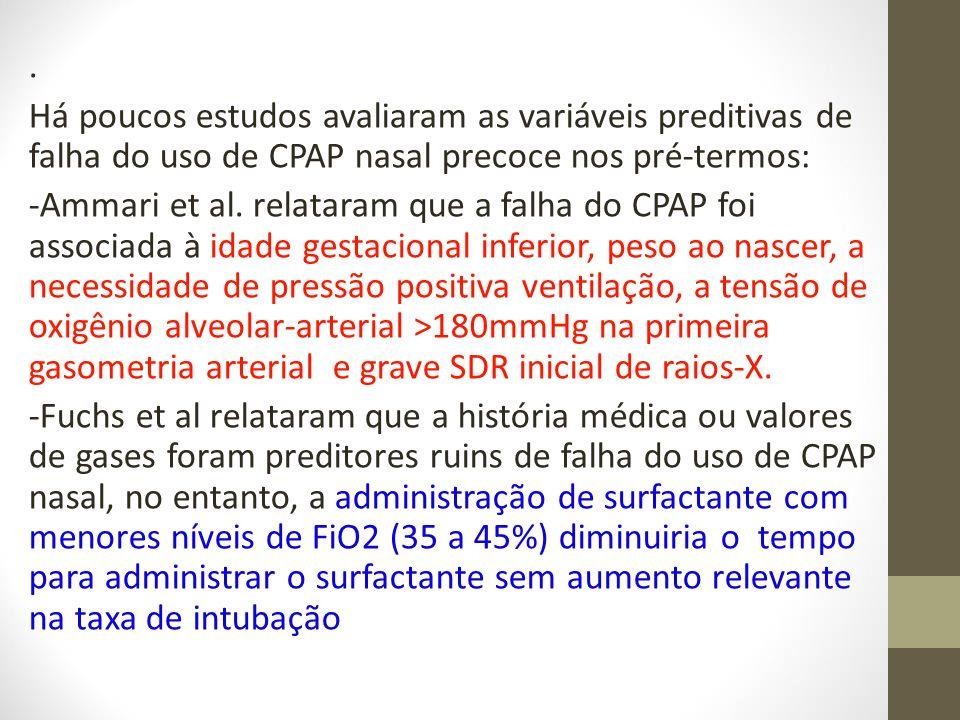 . Há poucos estudos avaliaram as variáveis preditivas de falha do uso de CPAP nasal precoce nos pré-termos: